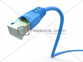 Make money online. Concept. Internet cable with euro