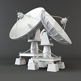 Communication. Satellite dish. 3d