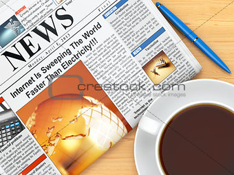 Coffee cup,  newspaper and pen on table
