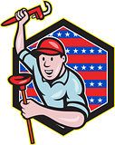 Plumber With Monkey Wrench And Plunger Cartoon