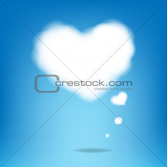 Cloud From Hearts With Blue Background
