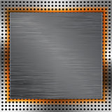 Abstract background with brushed metal inset and orange light