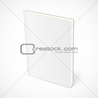 Empty standing book with white cover