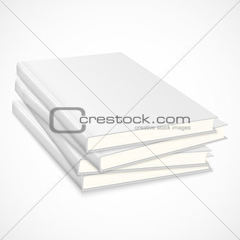 Stack of empty books with white cover