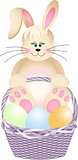Happy bunny in basket with easter eggs