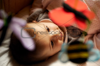 Beautiful little female baby smiling and playing with animal toy
