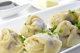 Boiled Ravioli with Meat Filling and Parsley