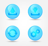Computer signs on glossy icons. Vector icons