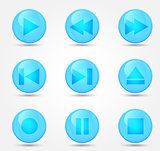 Media player buttons collection. Vector design elements