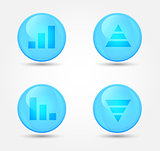 Financial graph set on glossy icons. Vector icons