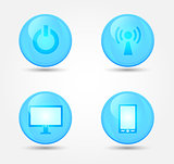 Set of glossy technology icons. Vector icons