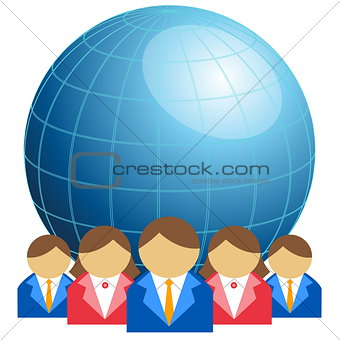 Business men and women with globe