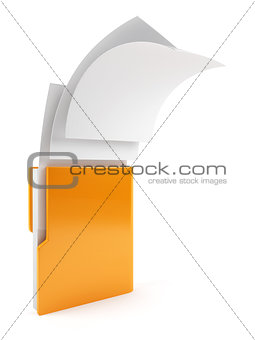 Computer folder with flying documents