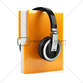Computer folder with earphones