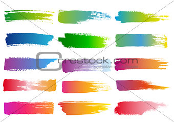 watercolor brush strokes, vector set