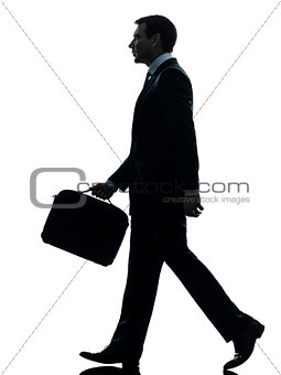 business man walking profile silhouette