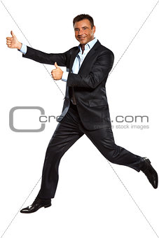 one business man running jumping double thumbs up