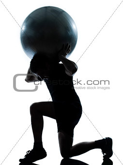 man workout holding fitness ball