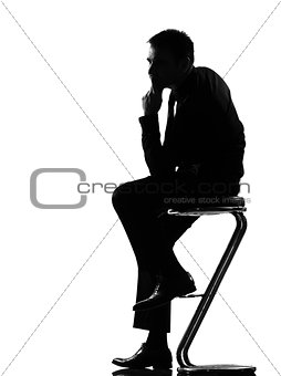 silhouette  man  thinking pensive