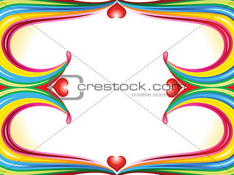 abstract colorful rainbow wave border with heart