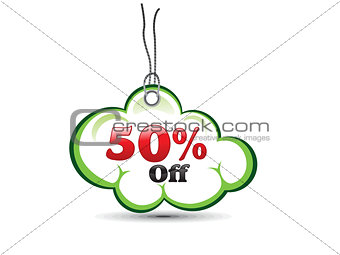 abstract cloud based sale tag