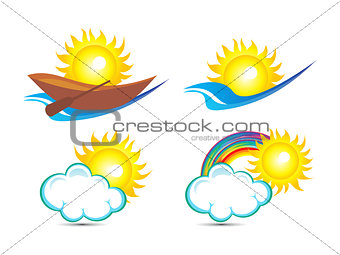 abstract multiple sun based logo template