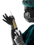 doctor suegon  Anesthetist man holding surgery needle silhouette