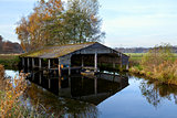 wooden fisherman hut on water