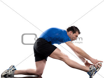 man workout stretching posture