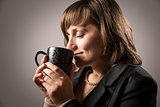 Business woman enjoy hot beverage