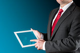 Man with chart on tablet
