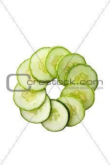 Green cucumber in circle
