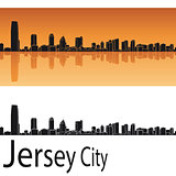 Jersey City skyline in orange background