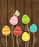 Easter background with eggs and butterfly