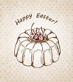 Easter background with cake