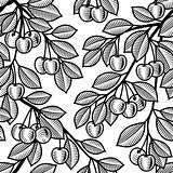 Seamless cherry background black and white