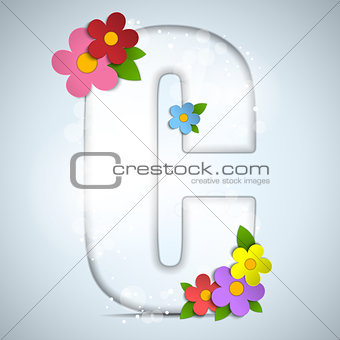 Alphabet Glass Spring with Flowers