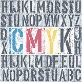 CMYK letterpress poster. Vector, EPS8