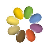 Easter eggs multi-colored set. Vector, EPS10