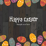Easter eggs on wooden planks background. Vector, EPS10