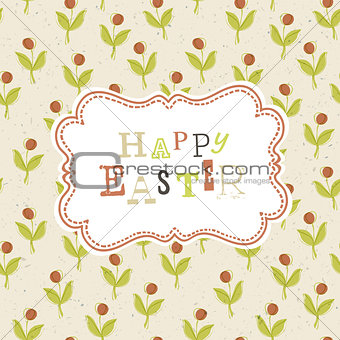 Easter card template with red berry seamless pattern. Vector, EP