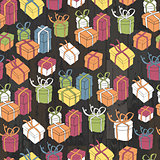 Seamless gifts pattern on wooden planks. Vector, EPS10