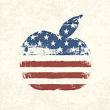Apple shaped american flag. Vector, EPS10