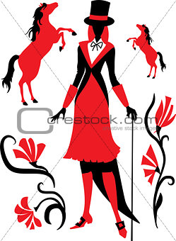 Silhouette of a girl jockey