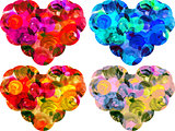 Watercolor hearts isolated on white background