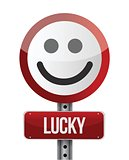 lucky smile road sign