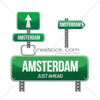 amsterdam city road sign