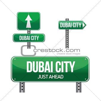 dubai city road sign