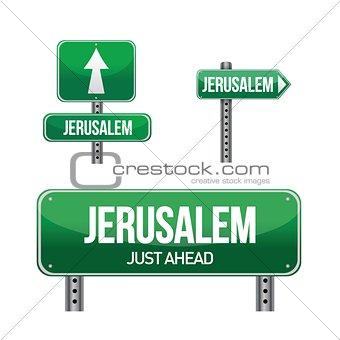 jerusalem city road sign