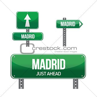 Madrid spain city road sign